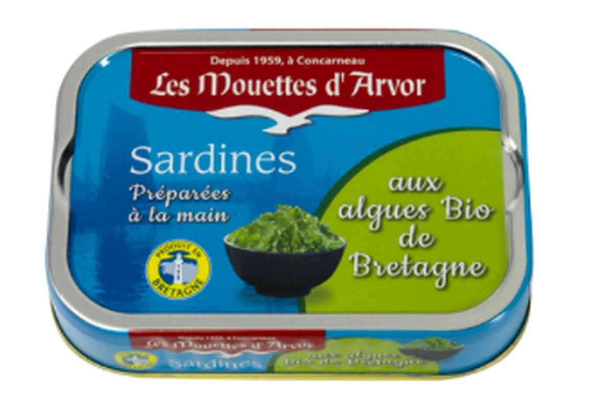 Sardines à l'huile d'olive aux algues de Bretagne BIO, Les Mouettes d'Arvor (115 g)