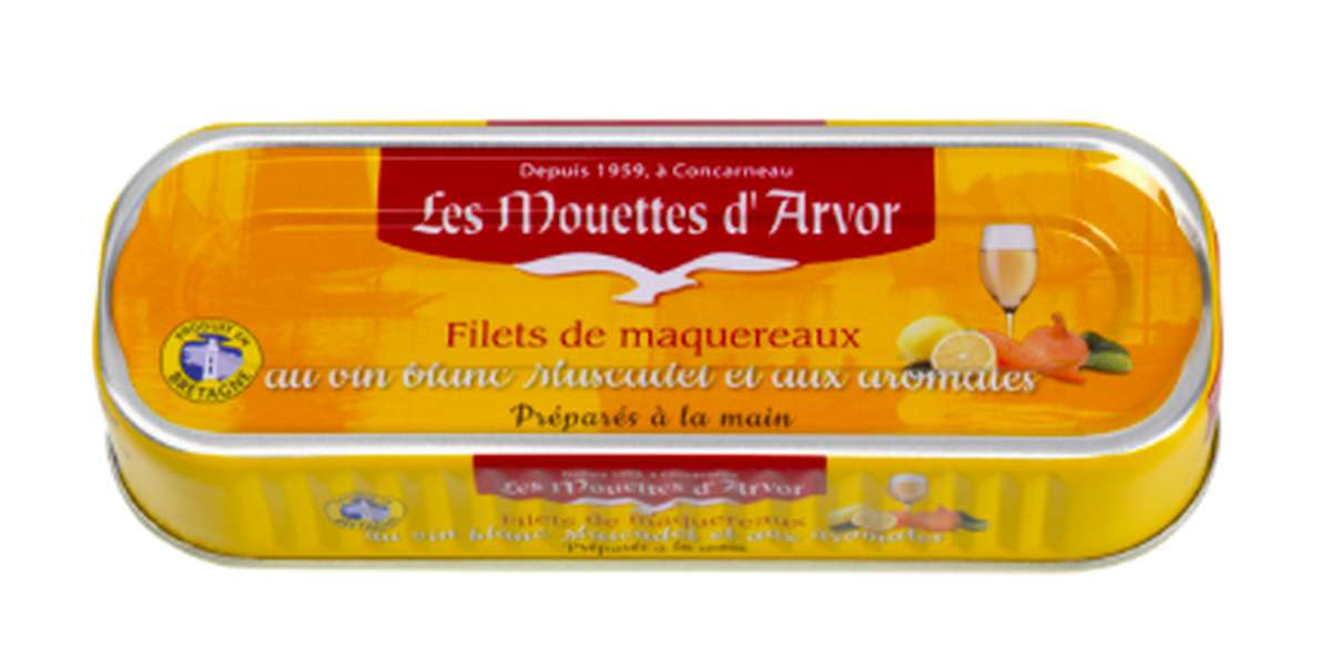Filets de maquereaux marinés au Muscadet et aromates, Les Mouettes d'Arvor (176 g)