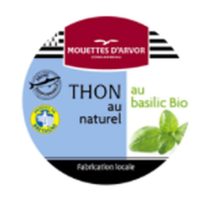 Thon Listao nature au basilic BIO, Les Mouettes d'Arvor (160 g)