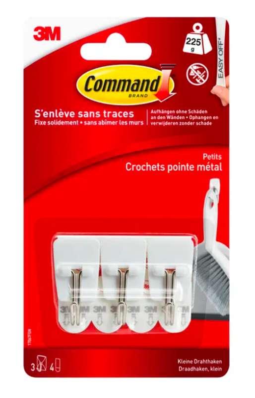 Crochet adhésif en plastique pointe métal, Command (x 3, petit)