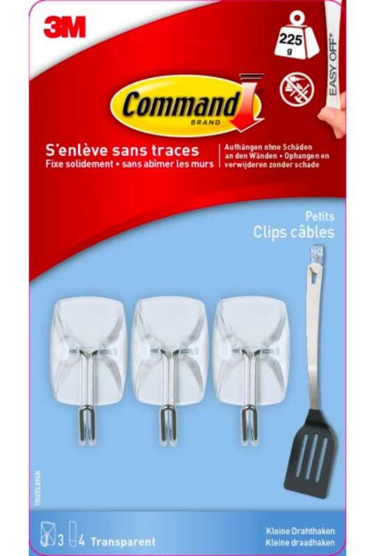 Crochet adhésif Clip Câble transparent, Command (x 3, petit)