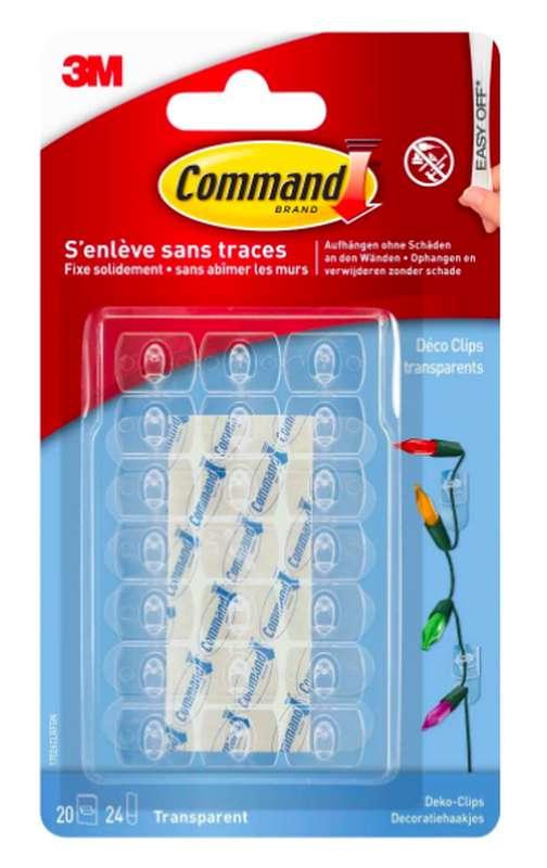 Crochet adhésif Déco Clip transparent, Command (x 20)