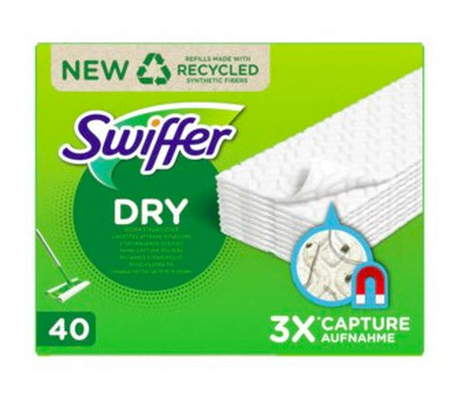 Lingettes sèches attrape-poussière 3x plus absorbantes, Swiffer (x 40)