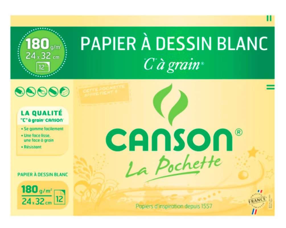 Pochette de papier à dessin blanc, Canson (24 x 32 cm, x 12 feuilles)