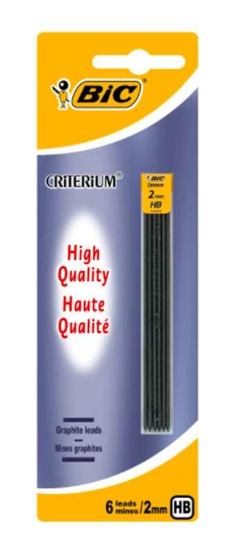 Mines critérium haute qualité, BIC (2 mm HB, x 6)