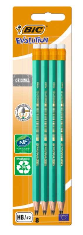 Crayon de papier graphite évolution embout gomme, BIC (655 HB, x 8)