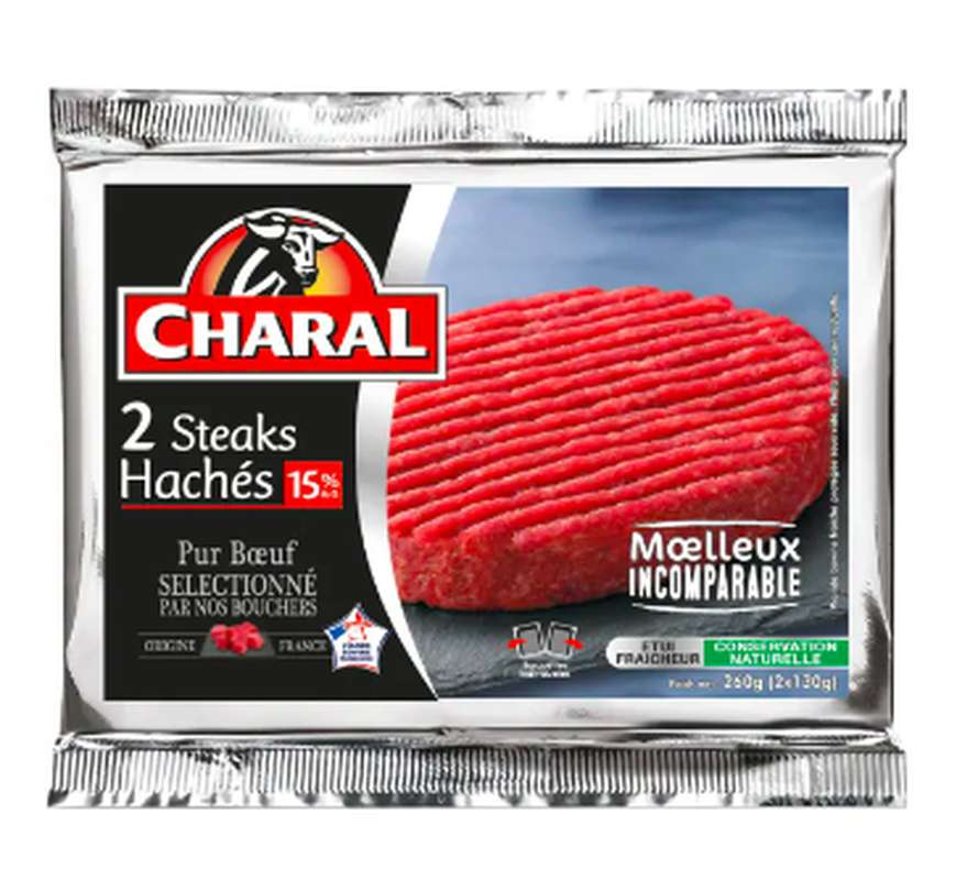 Steak haché 15% MG, Charal (2 x 130 g)