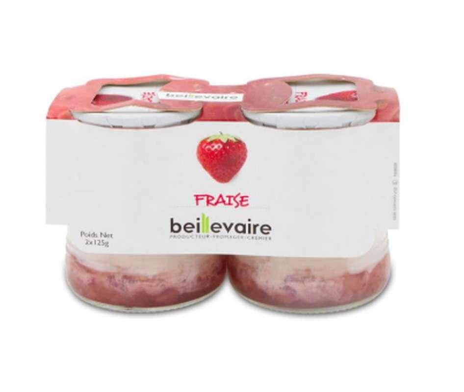 Yaourt aux fruits fraise 0%, Beillevaire (x 2)