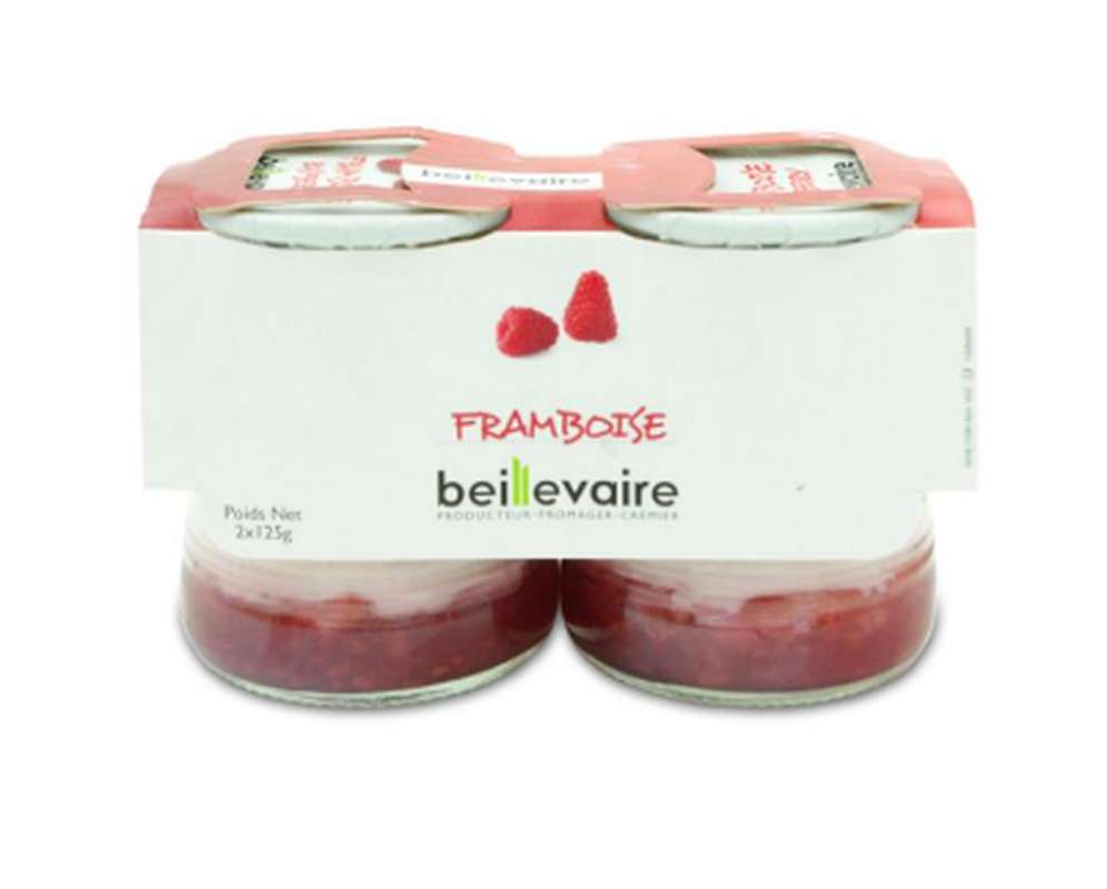 Yaourt aux fruits framboise BIO, Beillevaire (x 2)