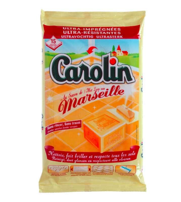 Lingettes nettoyantes savon de Marseille, Carolin (x 15)