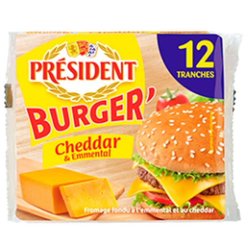 Cheddar et emmental Burger en tranches, Président (x 12, 200 g)