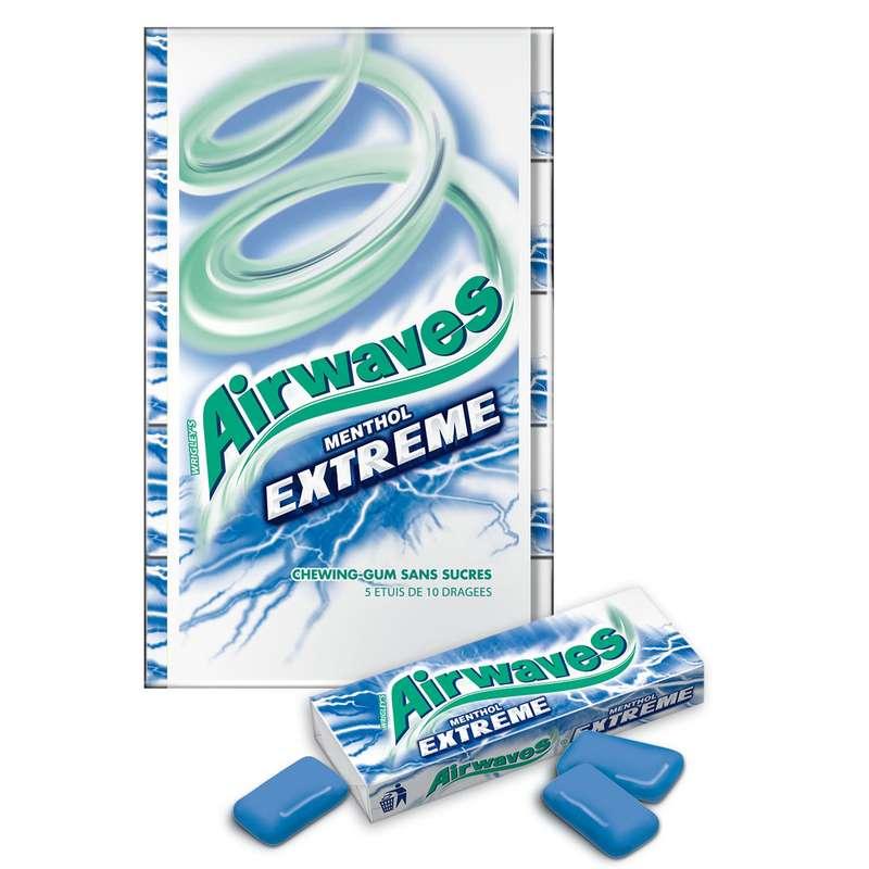 Chewing-gum Menthol Extreme, Airwaves (5 étuis de 10 dragées)