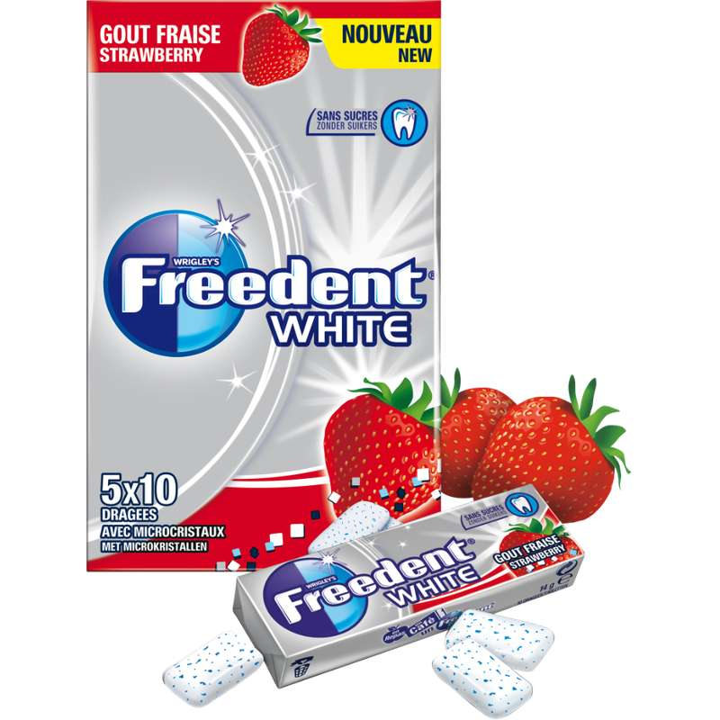 Chewing-gum dragée Fraise sans sucre, Freedent White (5 étuis de 10 dragées)