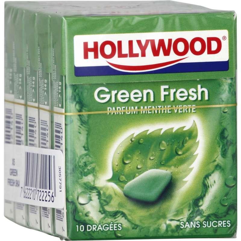 Chewing-gum dragées sans sucre Green Fresh, Hollywood (5 étuis de 10 dragées)
