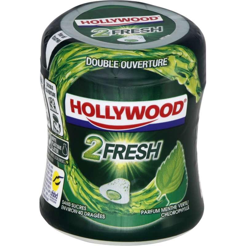 Chewing gum dragées 2 Fresh menthe verte chlorophylle, Hollywood (x 40)