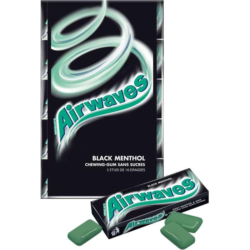 Chewings gum sans sucre Back Menthol, Airwaves (5 étuis de 10 dragées)