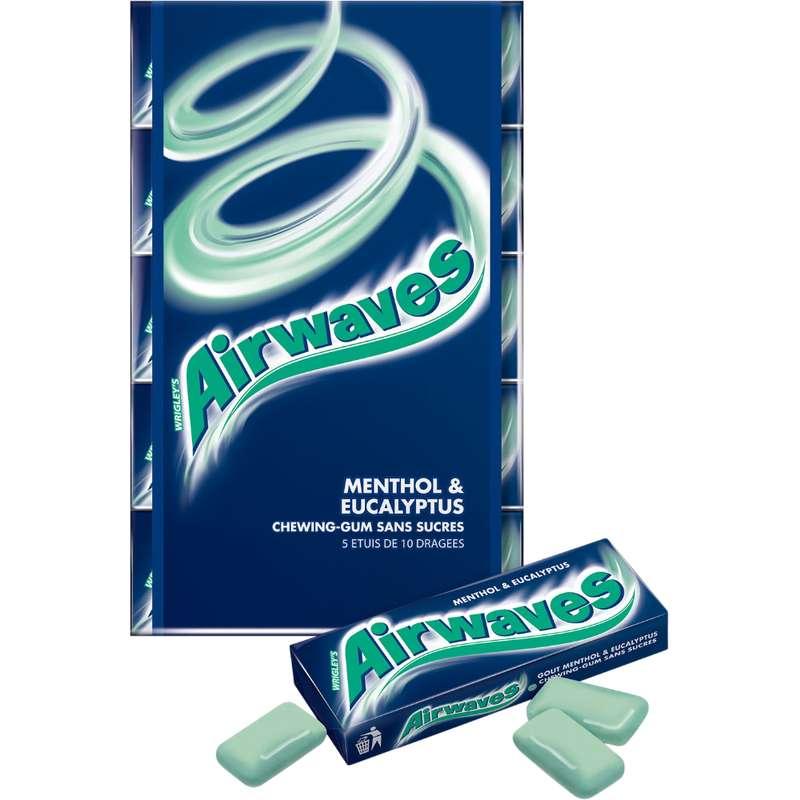Chewings gum sans sucre menthol eucalyptus, Airwaves (5 étuis de 10 dragées)