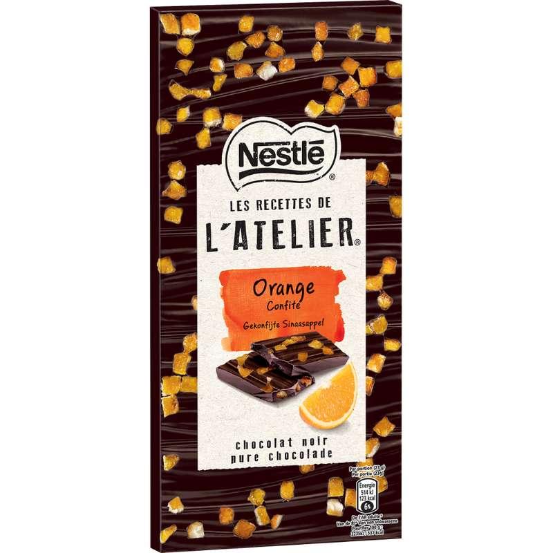Chocolat l'Atelier noir à l'orange confite, Nestlé (115 g)