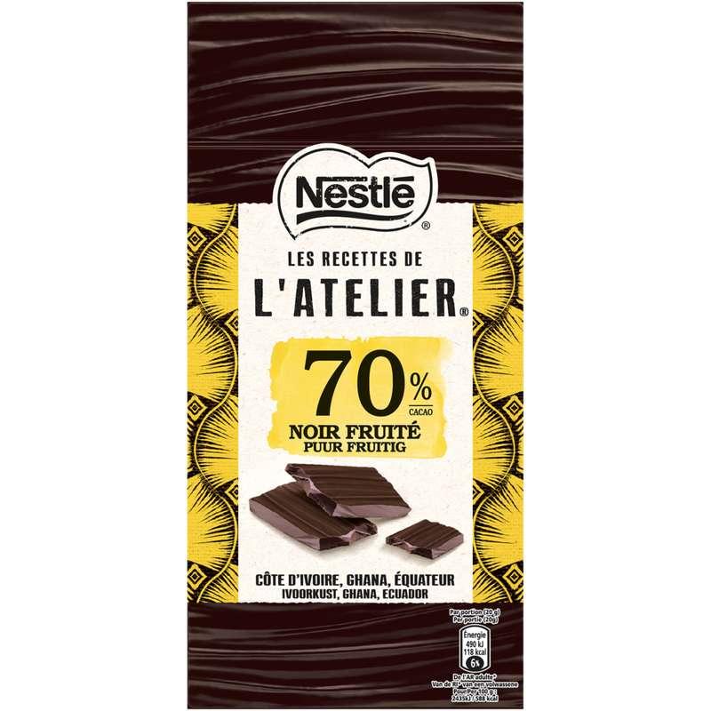 Chocolat l'Atelier noir fruité 70%, Nestlé (100 g)