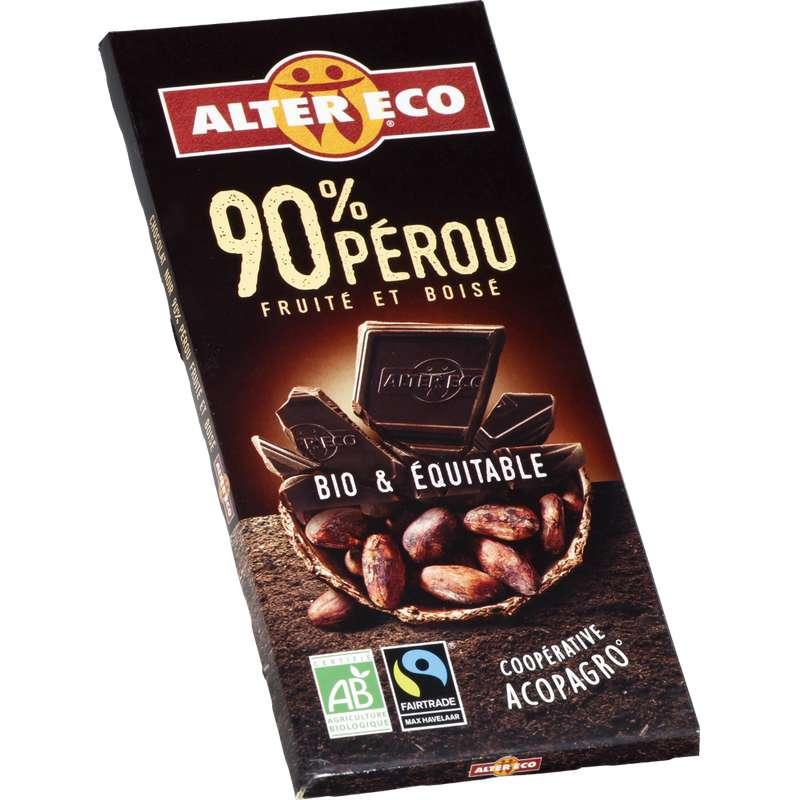 Chocolat Noir 90% Perou BIO, Alter Eco (100 g)