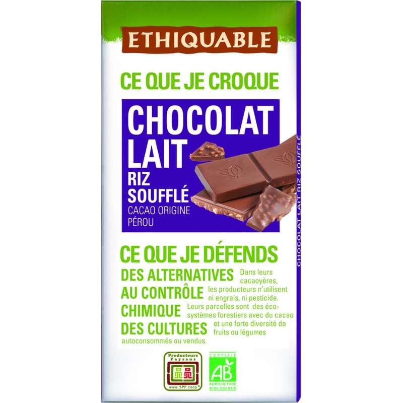 Chocolat au lait et riz soufflé BIO, Ethiquable (100 g)