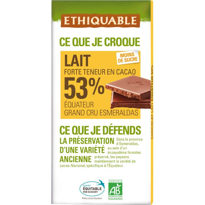 Chocolat lait 53% Equateur BIO, Ethiquable (100 g)