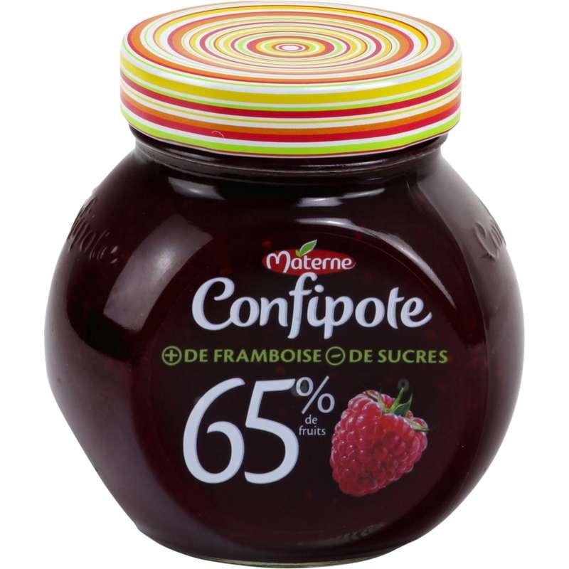 Confiture framboise allégée en sucres Confipote, Materne (350 g)