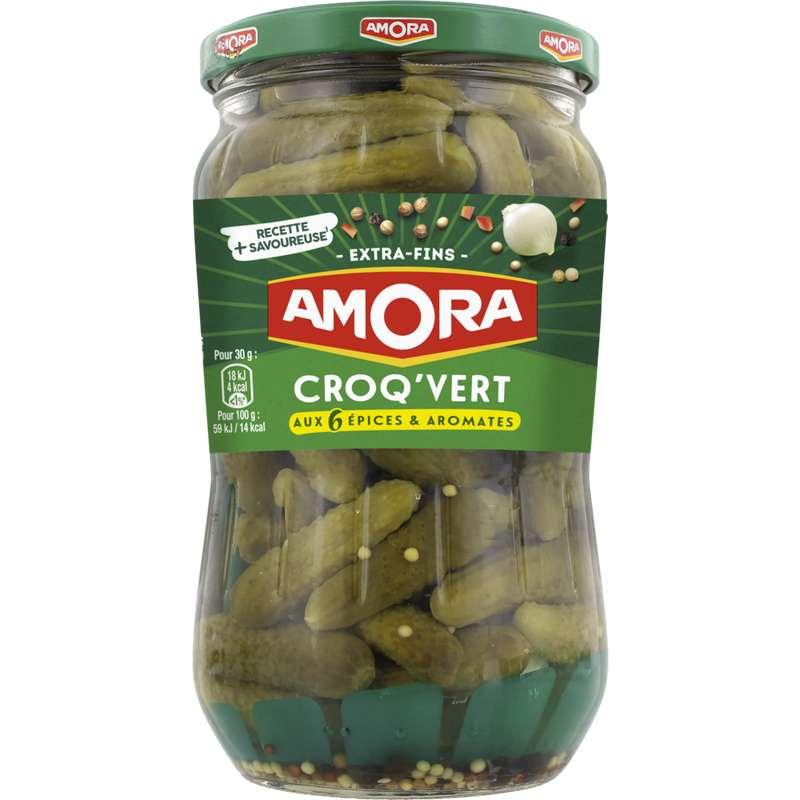 Cornichons Croq'vert Extra-fins, Amora (370 g)