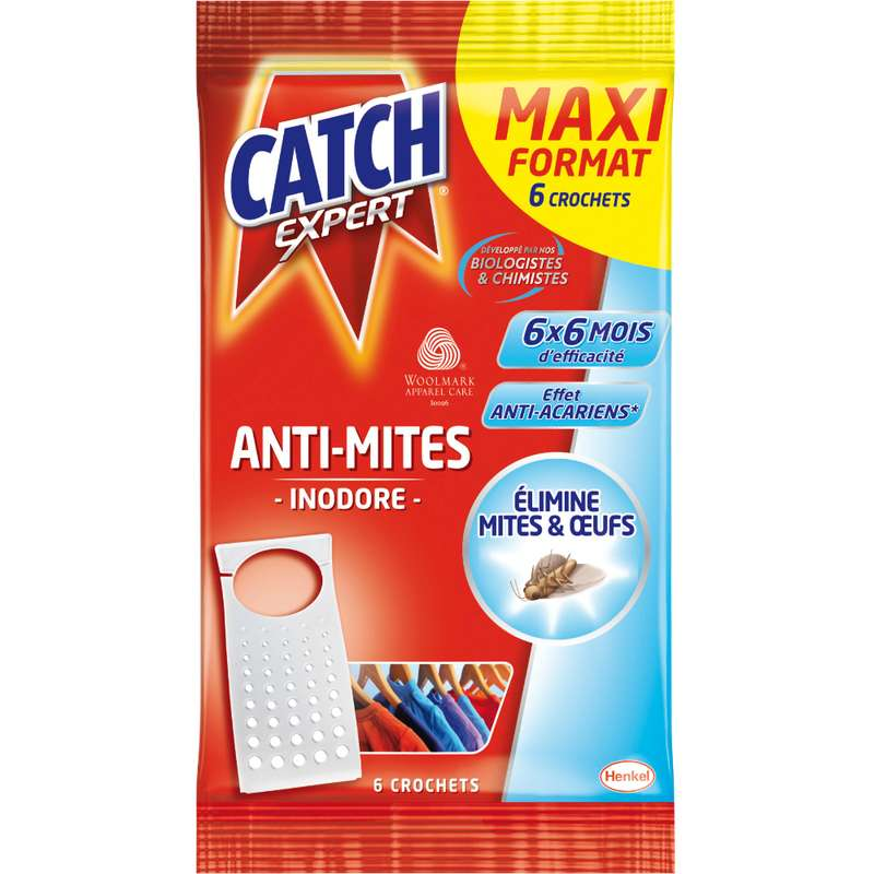 Crochets anti-mites inodores, Catch (x 6)