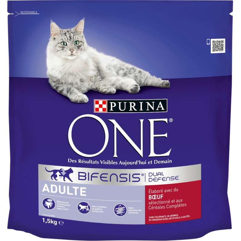 Croquettes pour chat adulte au boeuf et céréales complètes, Purina One (1,5 kg)