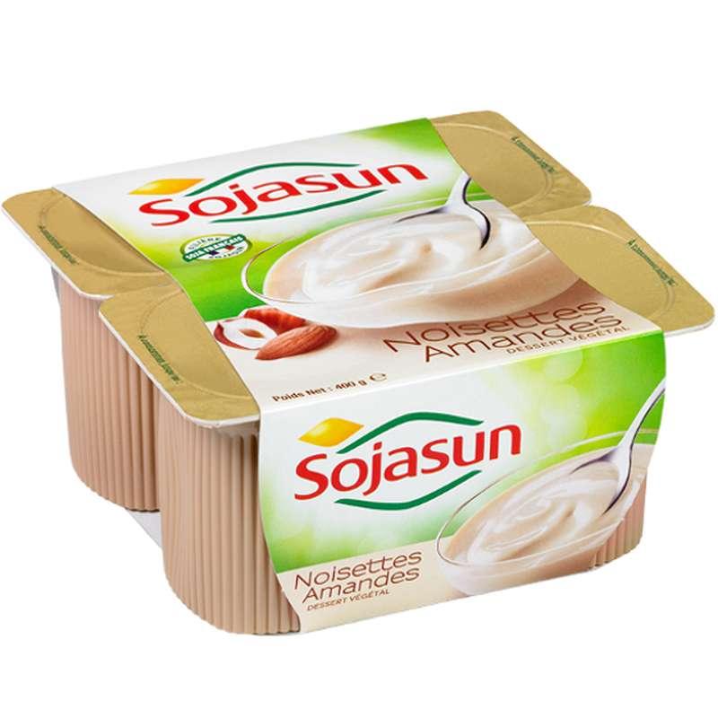 Dessert végétal aux amandes et aux noisettes, Sojasun (4 x 100 g)