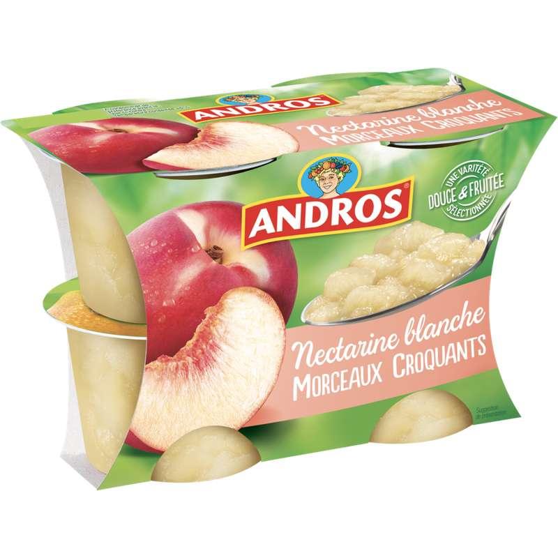 Délice fruitier de nectarine blanche morceaux croquants, Andros (4 x 100 g)