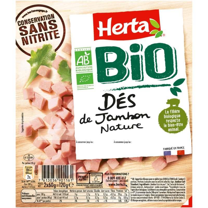 Dés de jambon nature BIO, Herta (120 g)