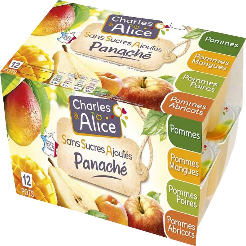 Dessert fruitier sans sucre ajouté 4 variétés, Charles et Alice (12 x 100 g)