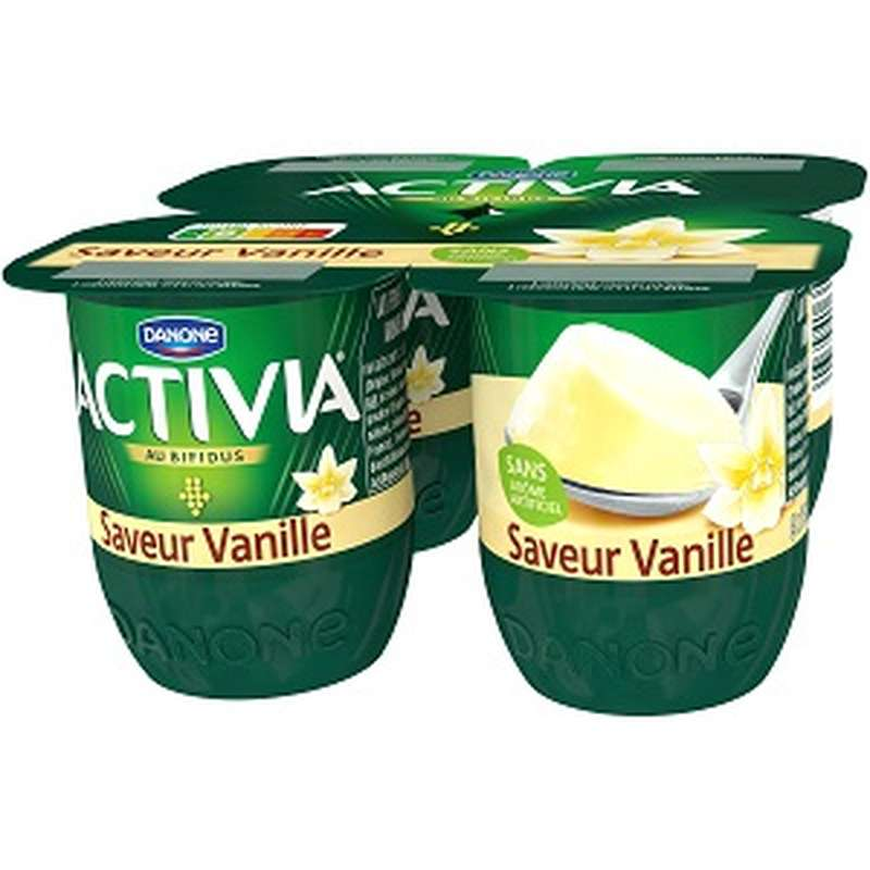 Yaourt Activia saveur Vanille, Danone (4 x 125 g)