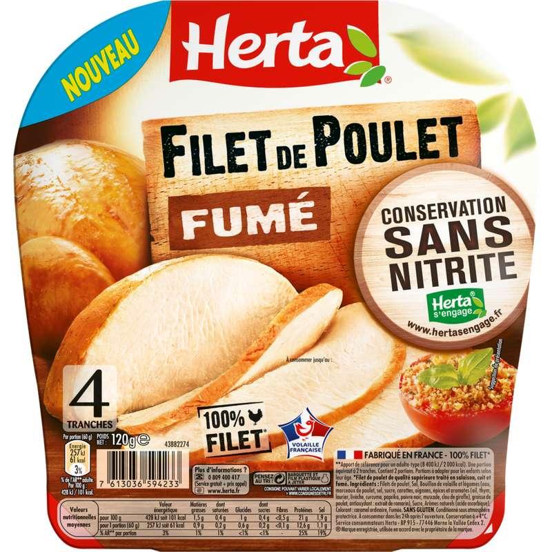 Filet de poulet fumé conservation sans nitrite, Herta (4 tranches, 120 g)