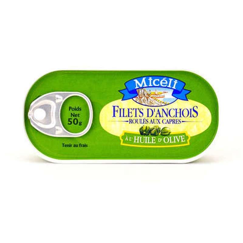 Filets d'anchois roulés aux câpres à l'huile d'olive, Micéli (50 g)