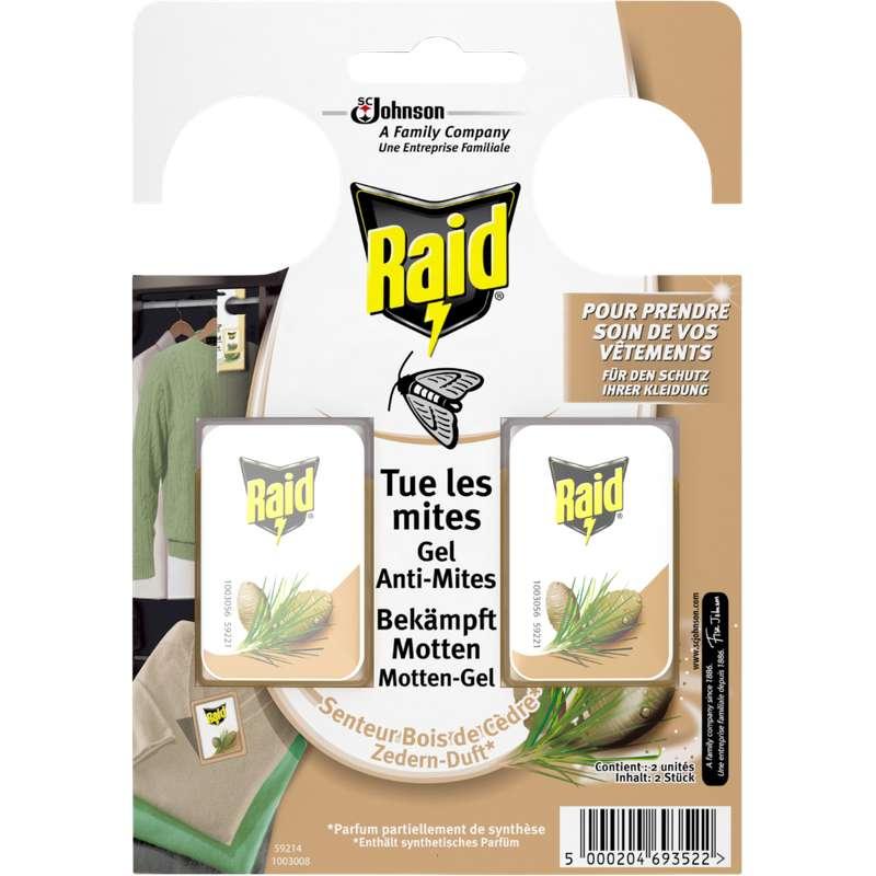 Gel anti-mites senteur bois de Cèdre, Raid (x 2)