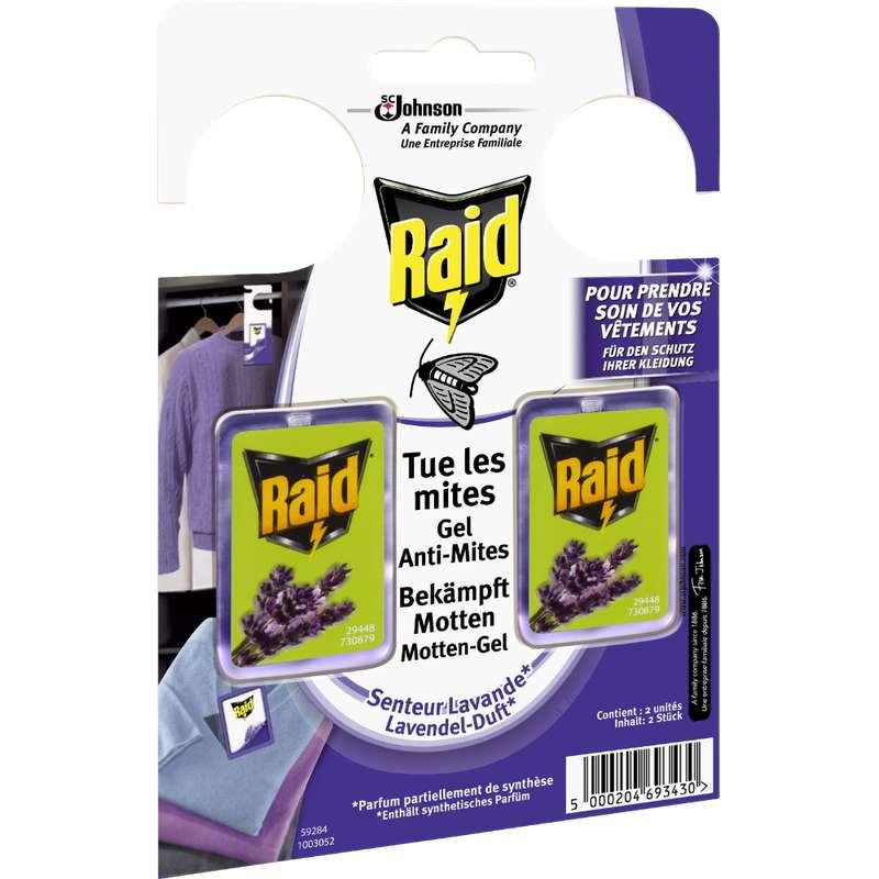 Gel anti-mites senteur lavande, Raid (x 2)