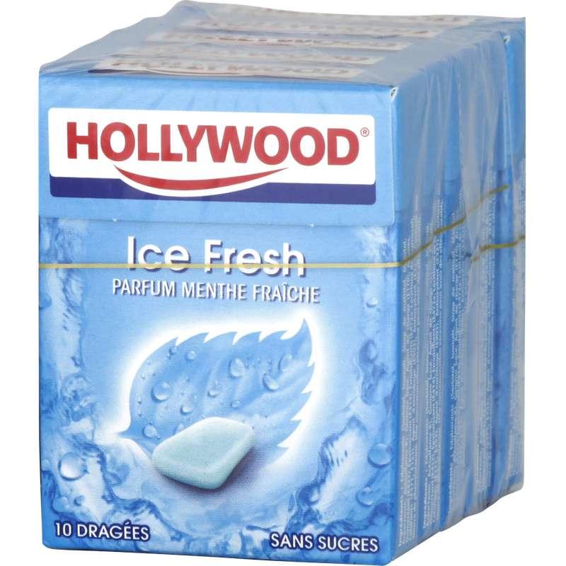 Chewing Gum Ice Fresh sans sucre, Hollywood (5 étuis de 10 dragées)