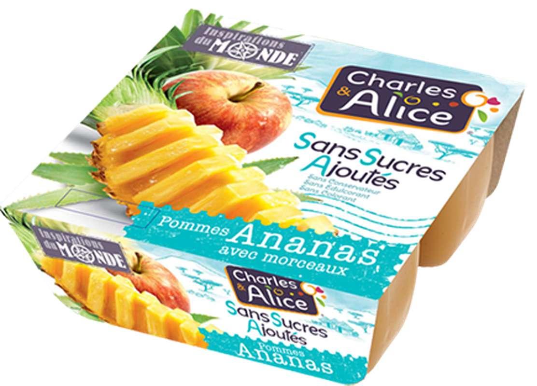 Compote pomme ananas sans sucres ajoutés avec morceaux, Charles et Alice (4 x 97 g)