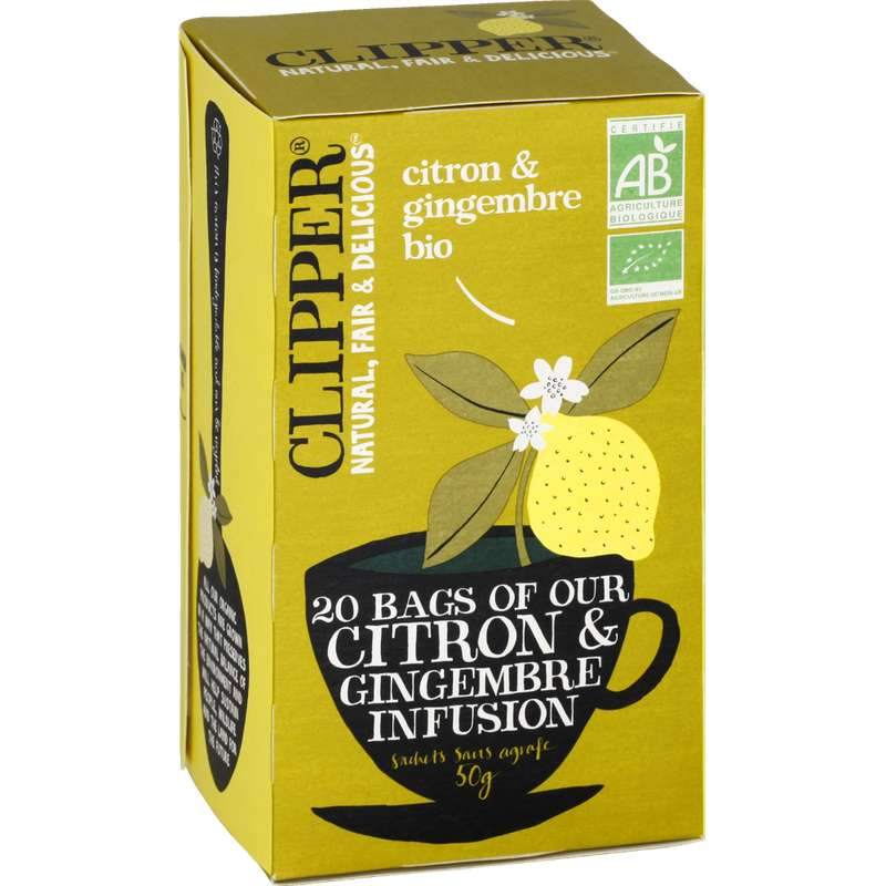 Infusions citron gingembre BIO, Clipper (50 g)