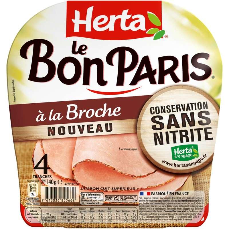 Jambon Le Bon Paris à la broche conservation sans nitrite, Herta (4 tranches, 140 g)