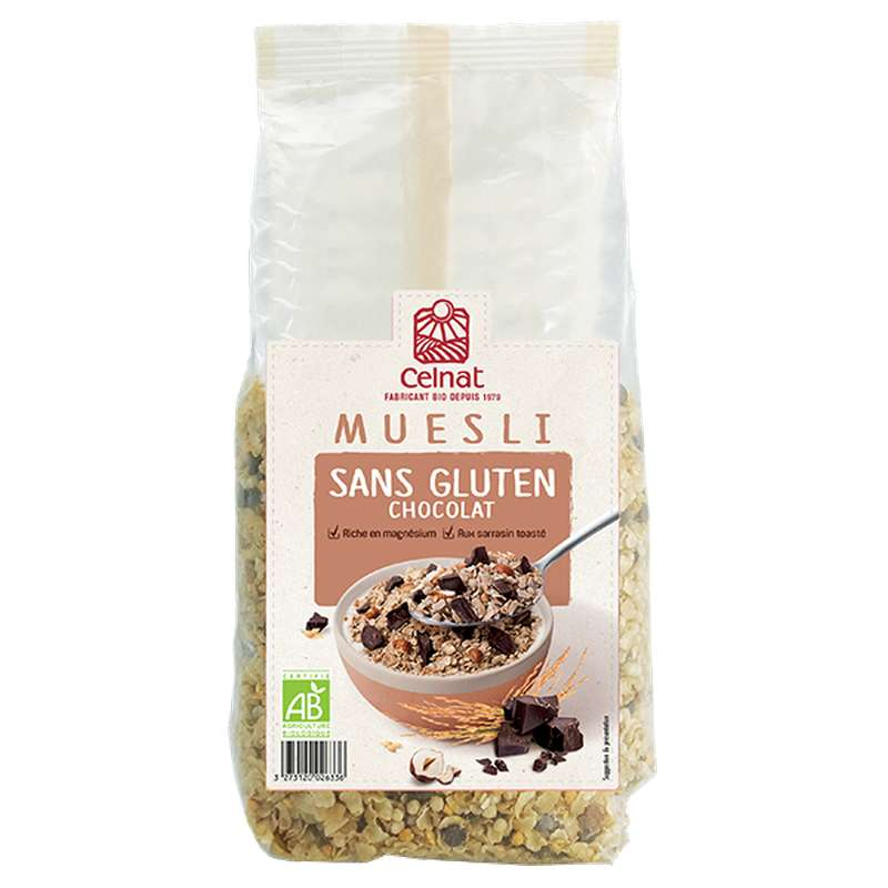 Muesli sans gluten chocolat - garanti sans gluten BIO, Celnat (375 g)