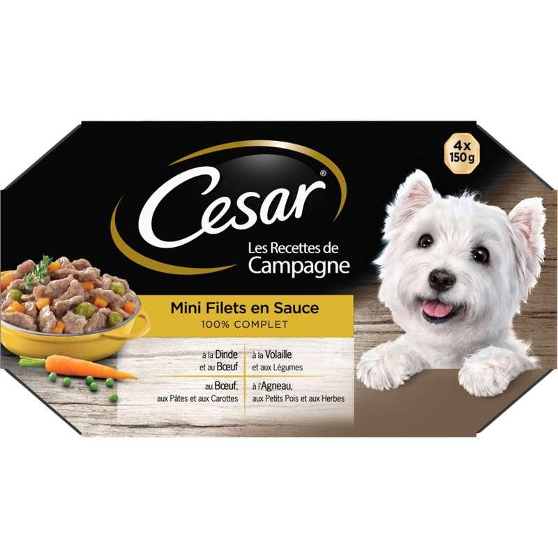 Mini filets en sauce pour chien recettes de campagne, Cesar (4 x 150 g)