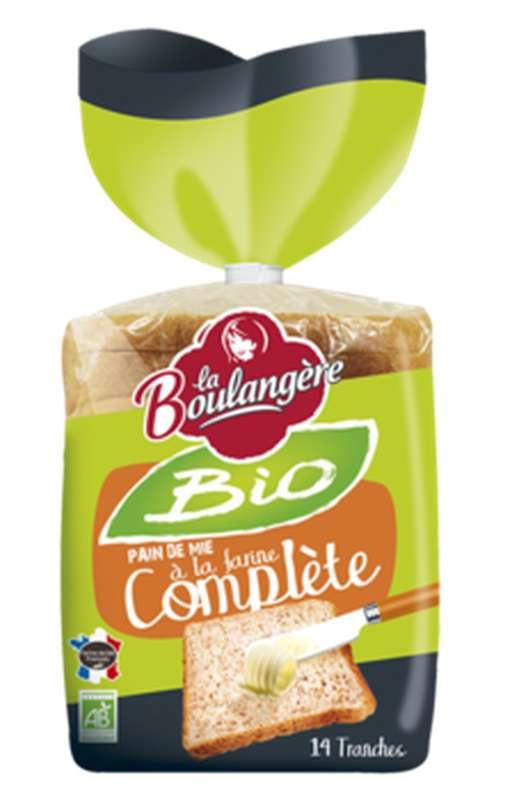 Pain de mie complet grandes tranches BIO, La Boulangère (500 g)