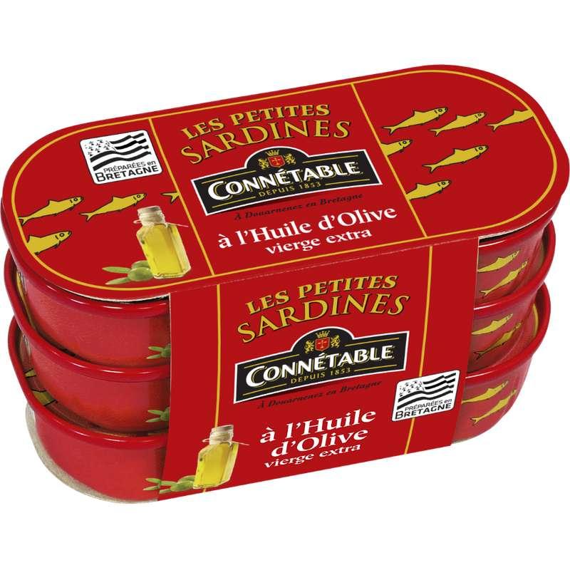 Petites sardines à l'huile d'olive vierge extra, Connetable (3 x 55 g)