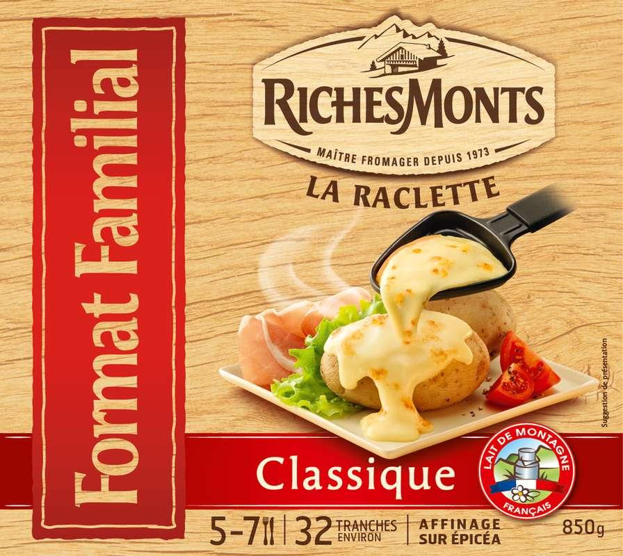 Plateau raclette au lait de montagne classique, RichesMonts (32 tranches, 850 g)