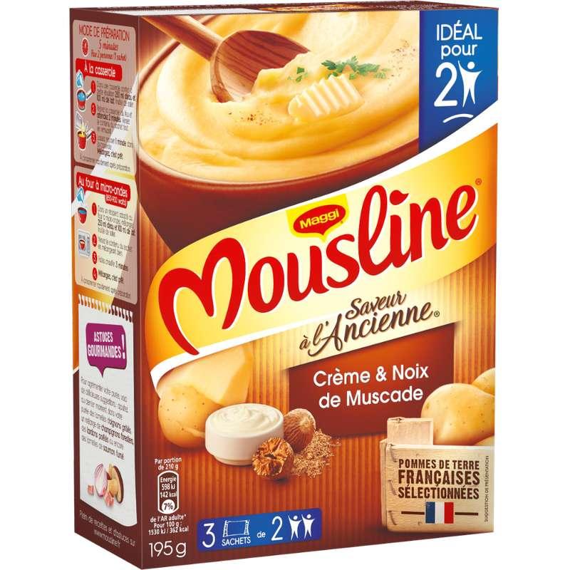 Purée à l'ancienne crème et pointe de noix de muscade Mousline, Maggi (x 3 sachets, 195 g)