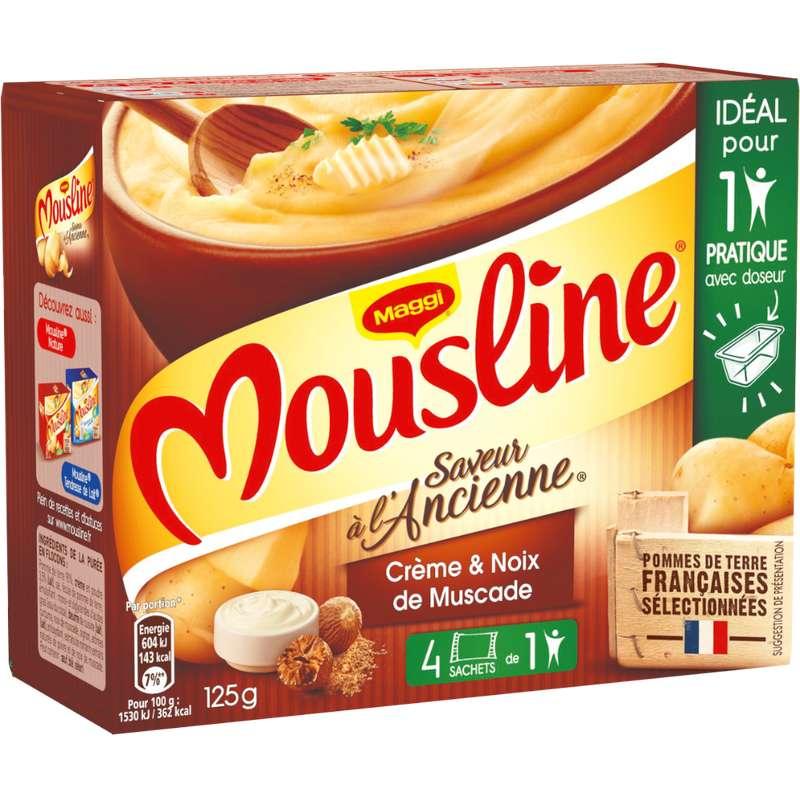 Purée à l'ancienne crème et pointe de noix de muscade Mousline, Maggi (x 4 sachets, 125 g)